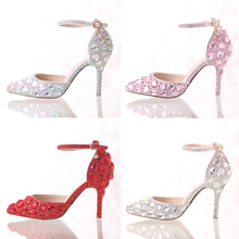 2016 Summer High Heels Women Wedding Shoes White Two-Pieces Hollow Diamond Bride Shoes Crystal Wristband Colorful Crystal Shoes