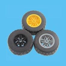 2Pcs/Lot TECHNIC PARTS 15413 Tyre 49.53 x 20 & 56145 Wheel 30.4 without Pinholes, with Reinforced Rim Block Bricks DIY Toys