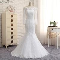 Vestidos De Noivas Newest Design Wedding Dresses With Detachable Train Long Sleeve Mermaid Bridal Gowns Boat