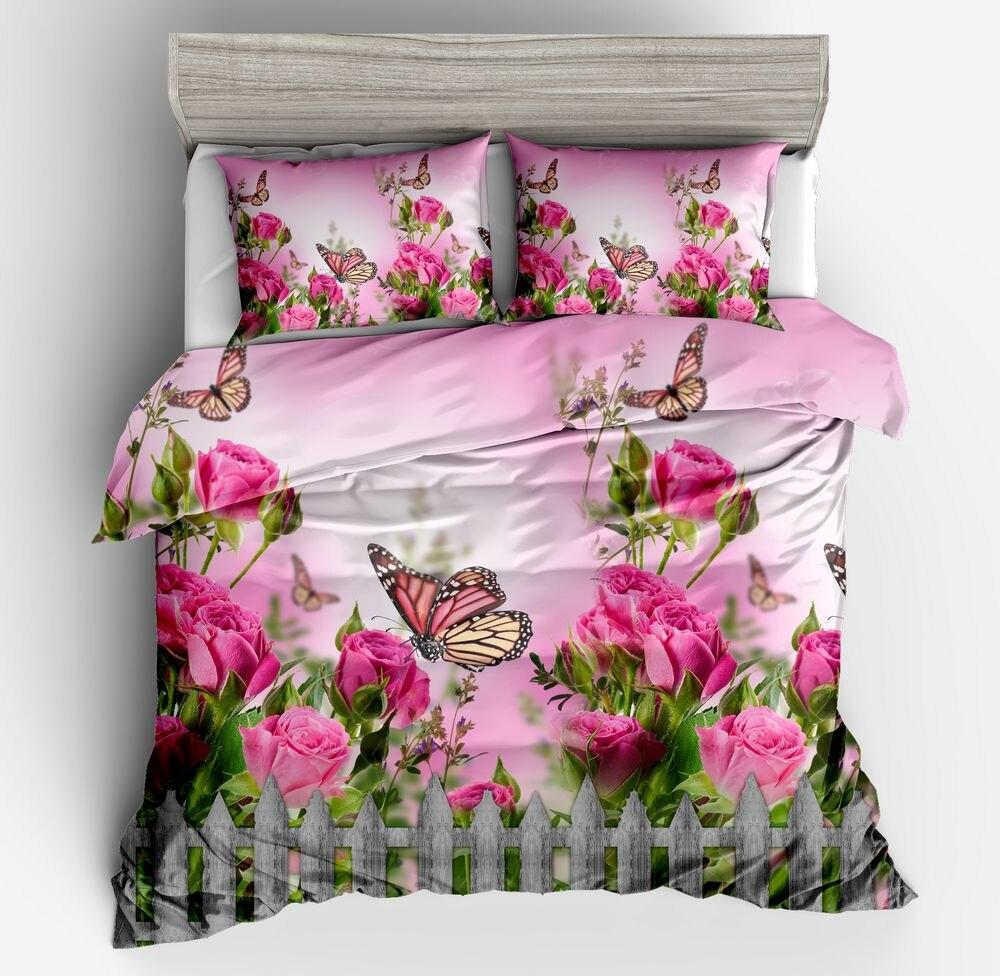 3D Pink Rose Comforter pillow case Bedding sets Floral Flower Butterfly quilt duvet cover Super King queen size twin 3PCS girl