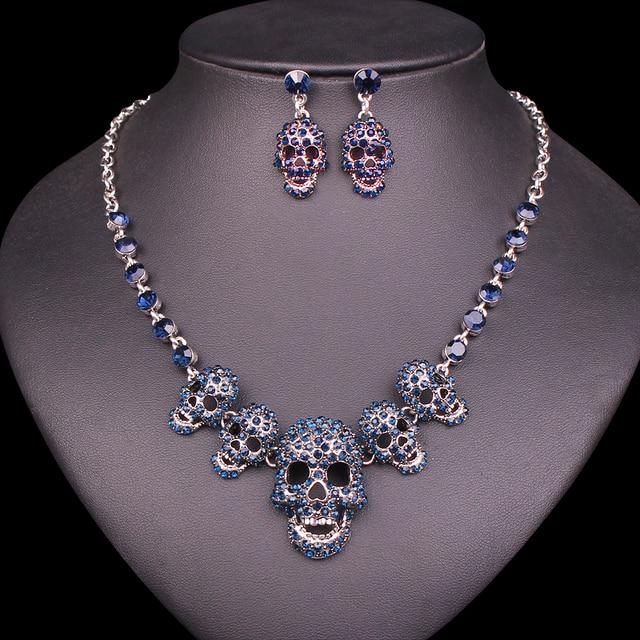 New Skeleton Necklace Earrings Bracelets Sets Vintage Skull Jewelry Sets  Retro Halloween Party Costume Jewellery Set for Women 1d11aaad67f2