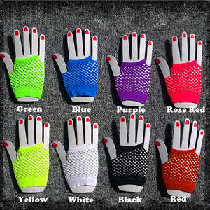 2015 High Quality Neon Short Fishnet Gloves Fish Net Black Fancy  Party Dance Club Nylon+Spandex Mesh Short Gloves