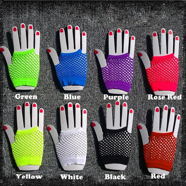 2015 High Quality Neon Short Fishnet Gloves Fish Net Black Fancy  Party Dance Club Nylon+Spandex Mesh Short Gloves