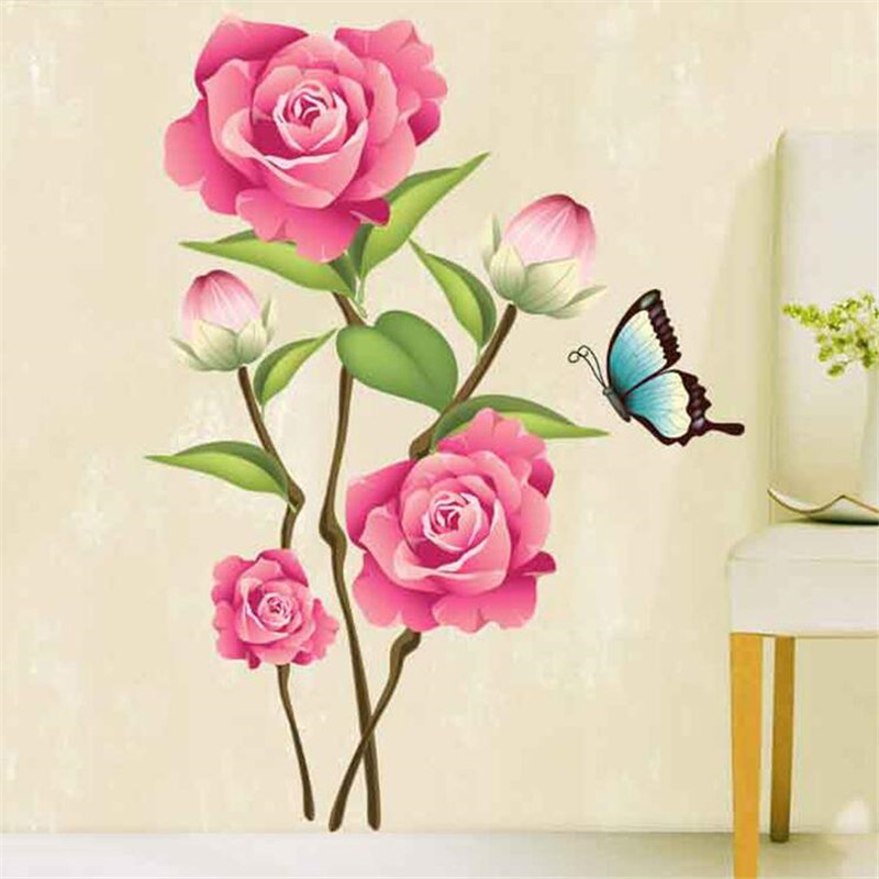 1PCS Large Chinese Flower Wall Sticker Butterfly On The Stikers For Living Room Decoration Decals Home Decor 50*70cm
