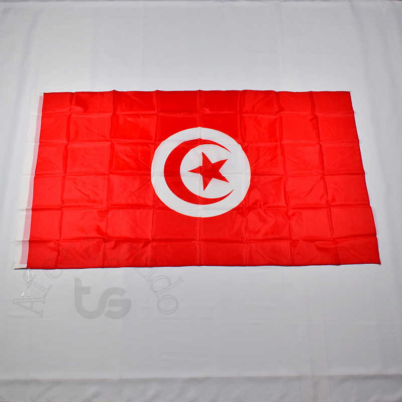 Tunisia 90*150cm flag Banner Free shipping 3x5 Foot National flag for meet,Parade,party.Hanging,decoration