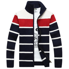 Collar cardigan casual sweater loose size stripe knit wool coat autumn and winter