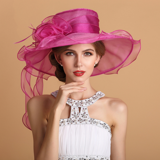 2016 Nuova Donna Elegante Cappello di Cerimonia Nuziale Della Perla  Bianco Fucsia di Cristallo del 783a4d29146d