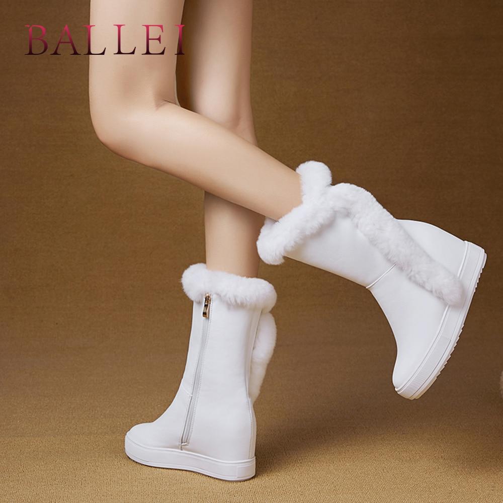 Lana Cálida Punta Lujo Redonda Tacón De Botas Mujer Elegante White B96 Pu Sólido Ballei Calidad Zapatos black Invierno Moda q8pBz