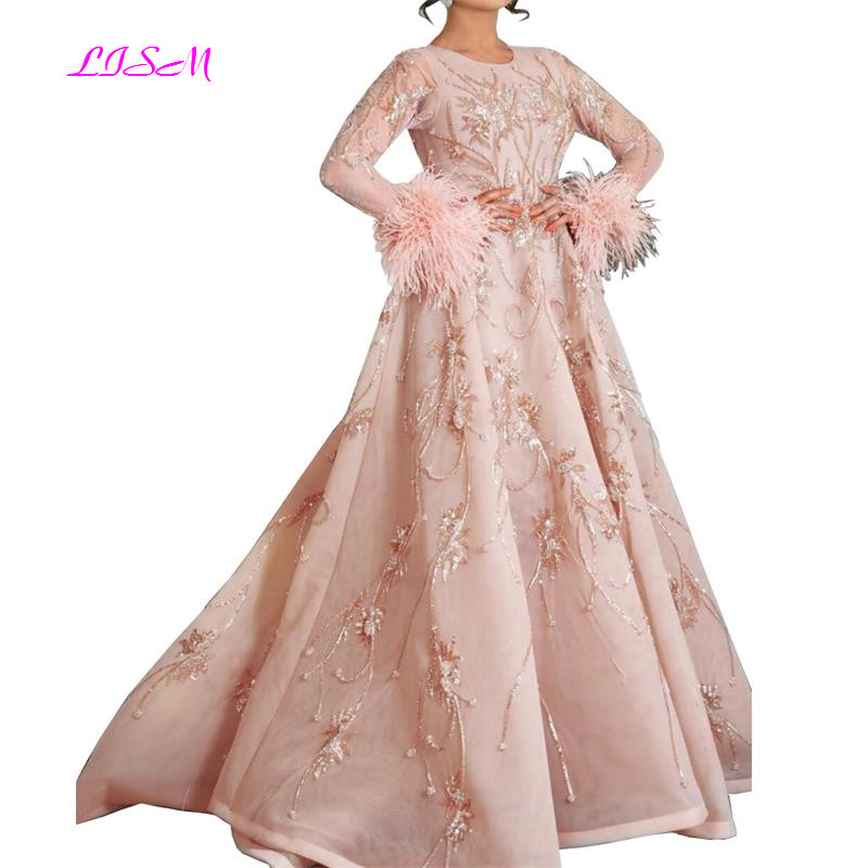 Crystal Luxury Evening Dresses 2019 O-Neck Long Sleeves Lace Evening Party Gowns Arabic Hand Made Beadings Elegant Prom Dress