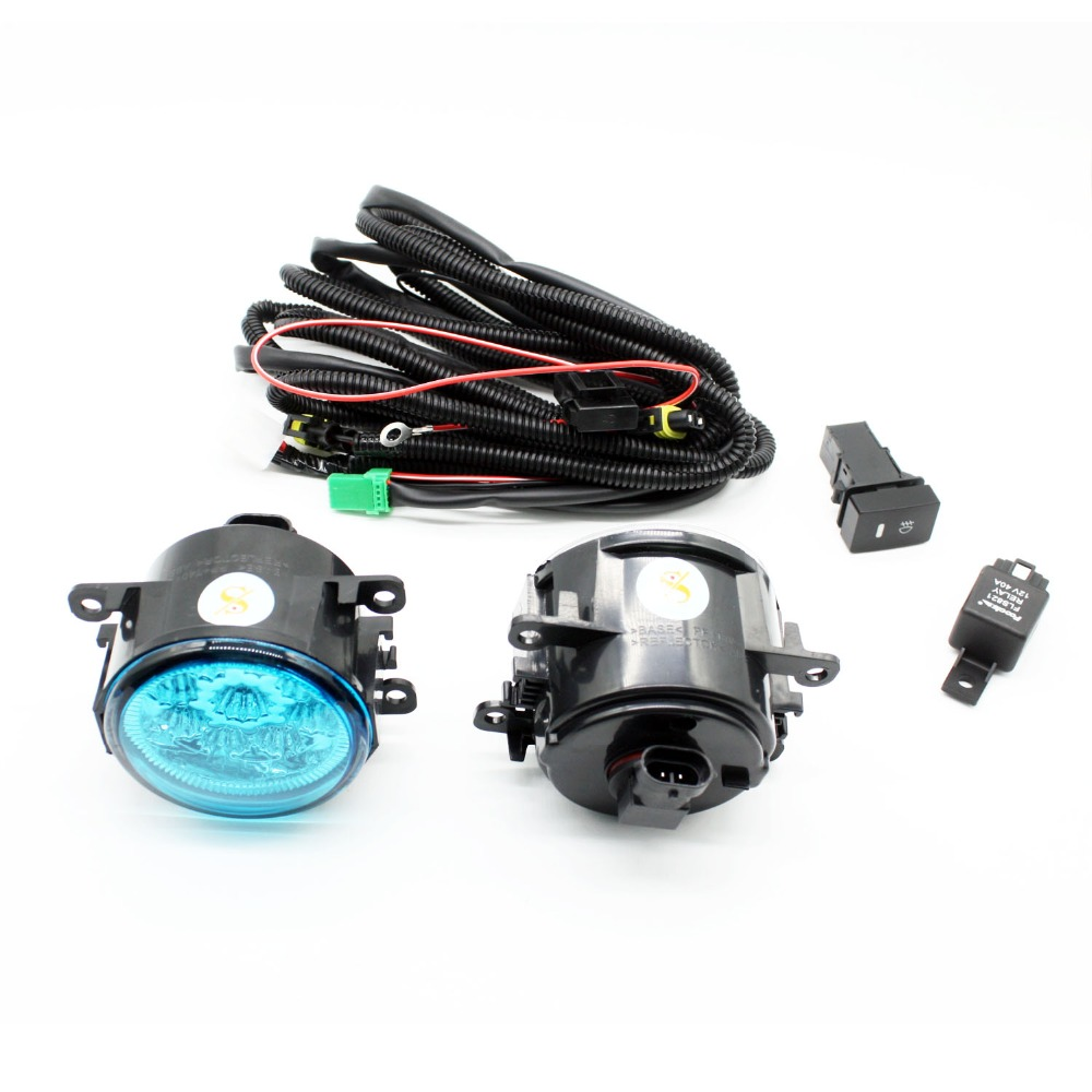 H11 Wiring Harness Sockets Wire Connector Switch + 2 Fog Lights DRL Front Bumper LED Lamp Blue Lens For Renault LOGAN Saloon LS for renault logan saloon ls h11 wiring harness sockets wire connector switch 2 fog lights drl front bumper 5d lens led lamp