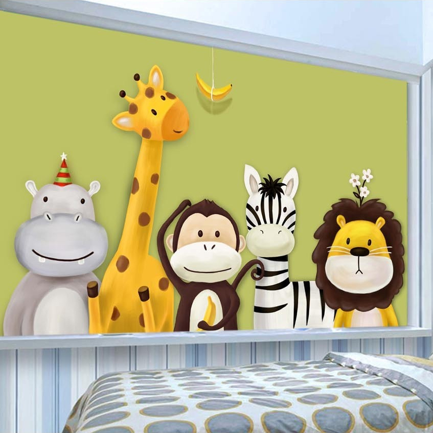 Custom 3D Photo Wallpaper For Kids Room Cartoon Animal Children Room Bedroom DIY Self-adhesive Wall Mural Wall Sticker Removable
