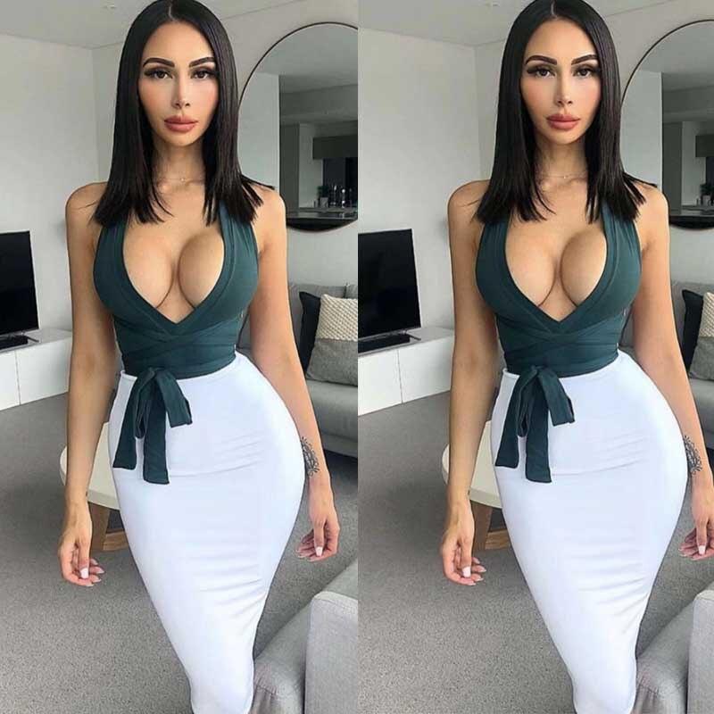 En gros 2019 plus récent femmes noir et rouge Spaghetti sangle Sexy sirène célébrité Cocktail partie bandage robe (L2936)