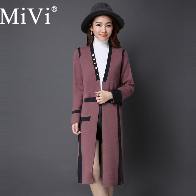 MIVI Brand Design Winter Long Coat Sweater Cardigan Women Warm Wool Overcoats Female European Fashion Joker Jacket Slit Outwear