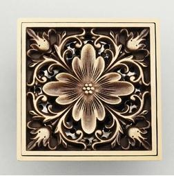 Antique Copper Anti-odor Square peony Bathroom Accessories Sink Floor Shower Drain Cover Luxury Sewer Filter GZ8402