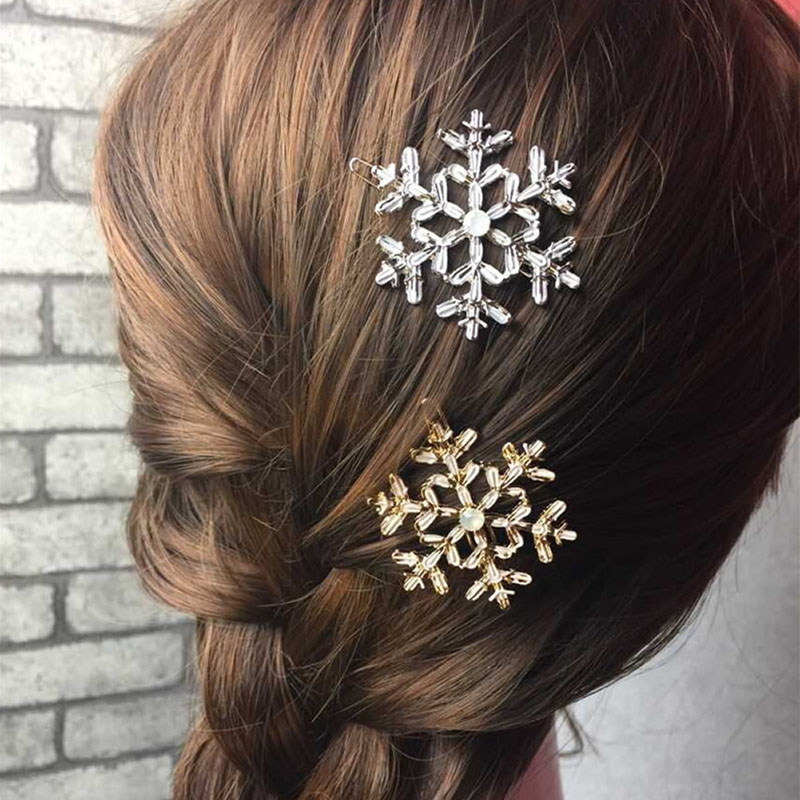 2Pcs Hair Accessory Decoration Women Girl  Bridal Snowflake Crystal Rhinestone Hair Clips Pin Barrette Hairpins Fashion Elegant women girl bohemia bridal camellias hairband combs barrette wedding decoration hair accessories beach headwear
