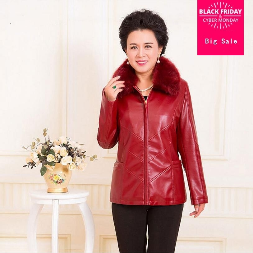 XL-6XL PU   leather   jacket Middle-aged women coats black red MOn's clothing loose plus size outwear fur collar short coat L1133