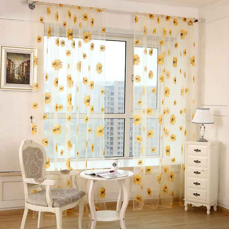 1pc Pastoral Style Sunflower Printed Tulle Curtains For Living Room Bedroom Window Screening Voile Home Decoration