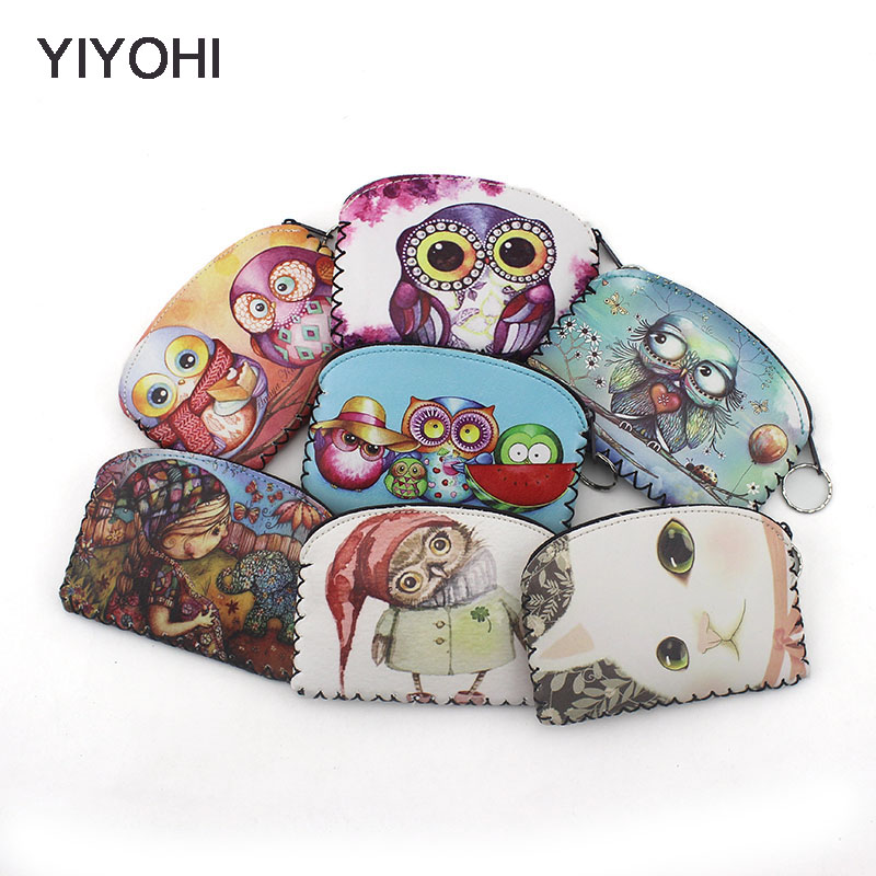 YIYOH Graffiti Owl Cat Elephant coin purse Change Purse Card Holder Handmade Hem Wallet Purse Women Clutch Zipper Coin Bag Pouch