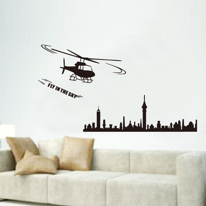 vinyl wall stickers home decor art decals design black city aircraft wallpaper bedroom sofa house decoration