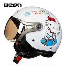 2016 Новые Нидерланды BEON Ретро Ввс Harley стиль пол-лица мотоцикл шлем изготовлен из ABS B-100 белый кот