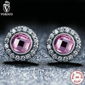 VOROCO Original 925 Sterling Silver Brilliant Legacy Stud Earrings With Pink & Clear CZ Compatible With  Jewelry S423