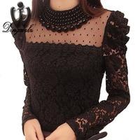 New 2016 Autumn Fashion Women S Elegant Lace Shirt OL Lace Top Blouse Sexy Blouses Patchwork