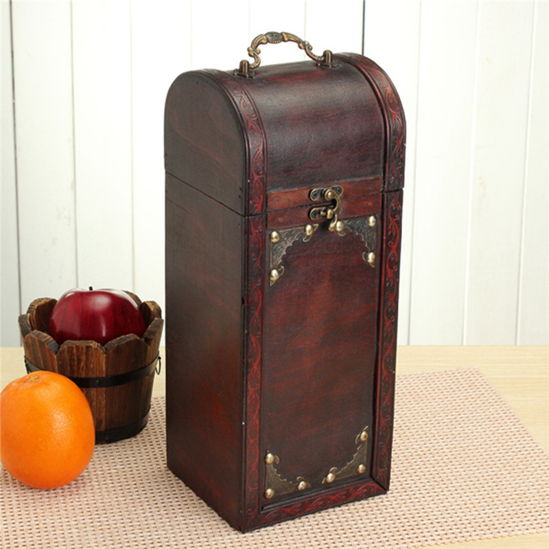 vintage caja de madera del vino caja de vino portable rojo arcaizante retro caja de