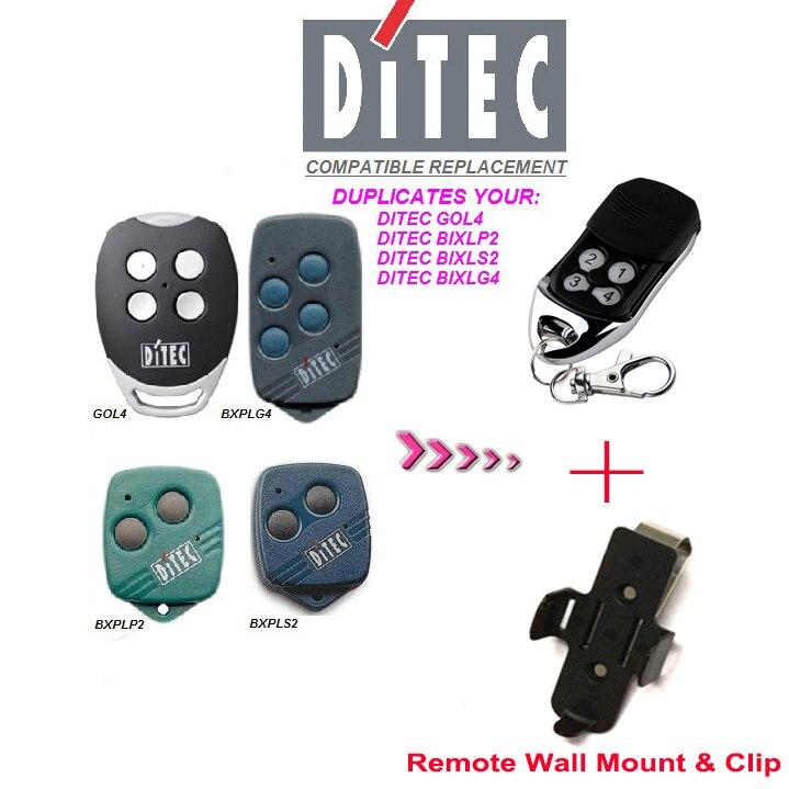 DITEC GOL4,BIXLP2,BIXLS2,BIXLG4  Rolling code 433mhz compatible remote with wall mount & clip