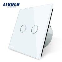 Livolo White Crystal Glass Switch Panel EU Standard 2 Gang 1 Way Switch VL C702 1