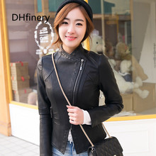 2017 spring new ladies leather Korean PU lady collar short section motorcycle jacket 15H107