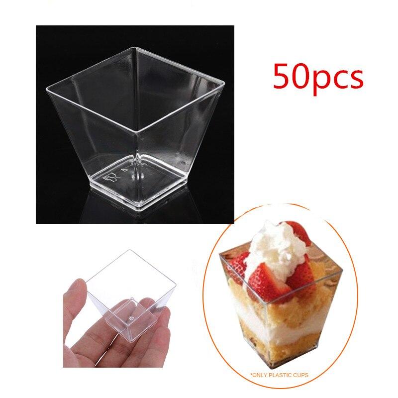 50 pçs 2oz 60ml mini quadrado sobremesa