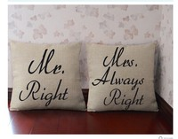 Free shipping Mr right Mrs always right pillow cover custom any quote couple pillow set Anniversary gift 18*18 inches