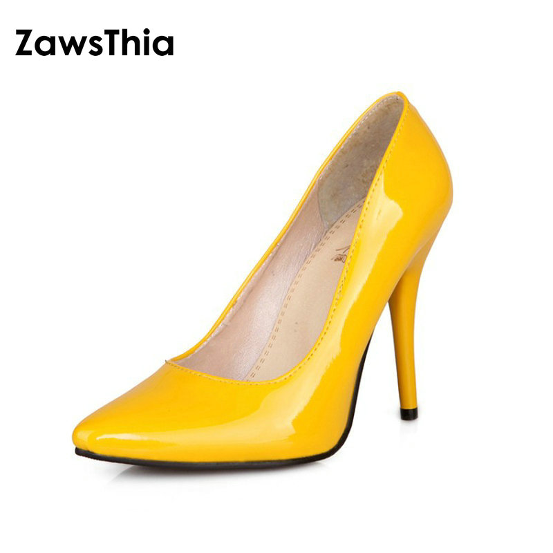 ZawsThia Patent PU Leather Woman Thin High Heels Colorful Yellow Green Stiletto Office Lady Pumps Women Shoes Big Size 46 47 48