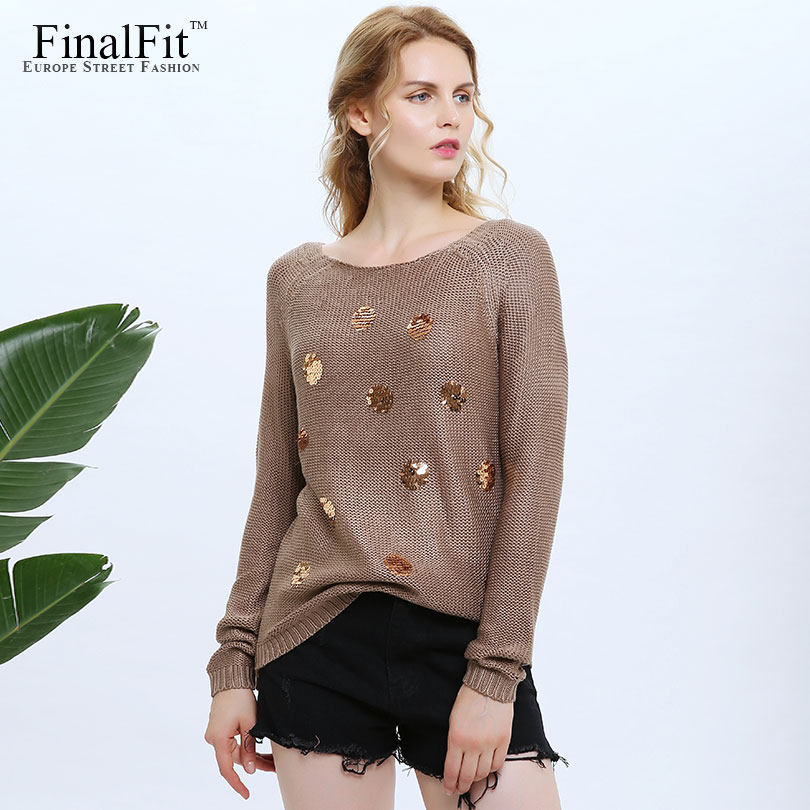 FinalFit Sequined Cotton Knitted Sweater Women Round Neck Causal Women Sweater Pullovers 2017 Female Chandail Pull