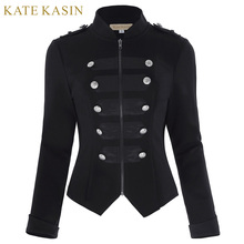Куртка женская двухрядная на молнии, готический винтажный Топ с длинным рукавом, на пуговицах, пальто черного цвета с декоративной пряжкой
