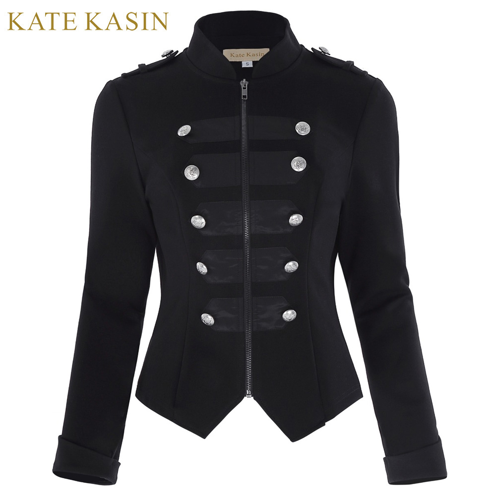 Kate Kasin Gothic Military Jacket Women Buttons Decorated Zipper Front Tops Sweatshirt 2018 Black Long Sleeve Outerwear Coats
