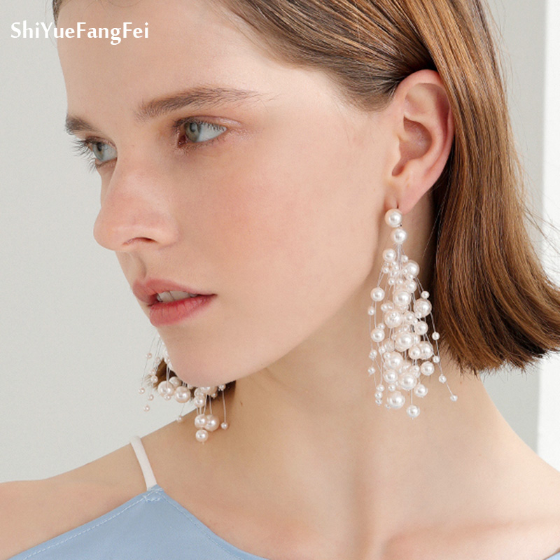 2018 Luxury Simulated Pearl Long Earrings For Women silver colour Color Dangle Drop Earrings Wedding Jewelry Brincos Orecchini
