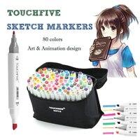 Touchfive 80 Màu Animation thiết kế Rượu Nghệ Thuật Đồ Họa Marker Pen với Rộng Fine Point