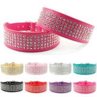 2 ancho 5 filas de diamantes de imitación de perro collares para mascotas perritos Bling completa Diamante Collar de cuero 13-24 XS/S/M/L/XL