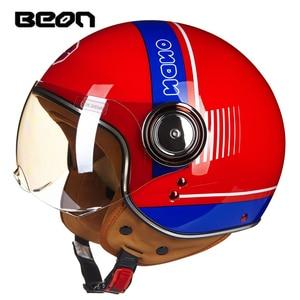 Image 2 - BEON moto rcycle helm Vintage roller open face helm Retro Reiten Racing helm ECE genehmigt Italien flagge moto Gehen kart casco
