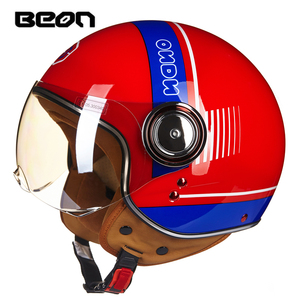 Image 2 - BEON motorcycle helmet Vintage scooter open face helmet Retro Riding Racing helmet ECE approved Italy flag moto Go kart casco