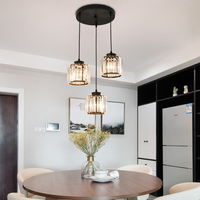 Moderno cromo metal cristal led pingente luzes led luminária luminária led para foyer sala de estar|Luzes de pendentes| |  -