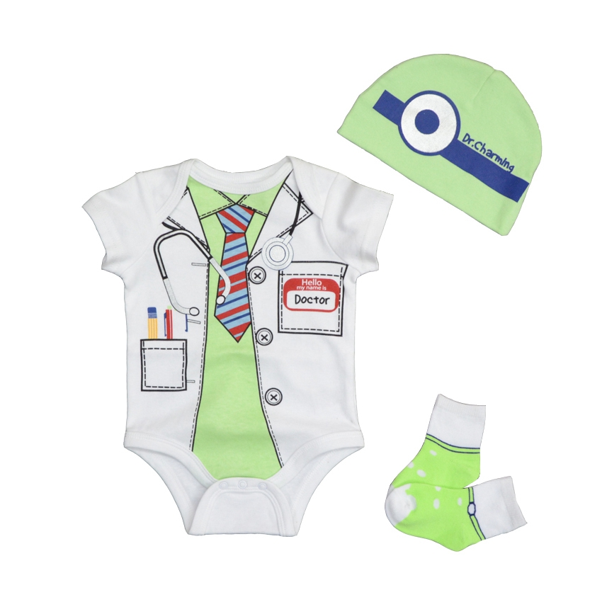 2019 Baby Girl Summer Clothes Sets Cotton O-Neck Short Sleeves 0-9M Romper & Hat & Socks Baby Fashion Clothing