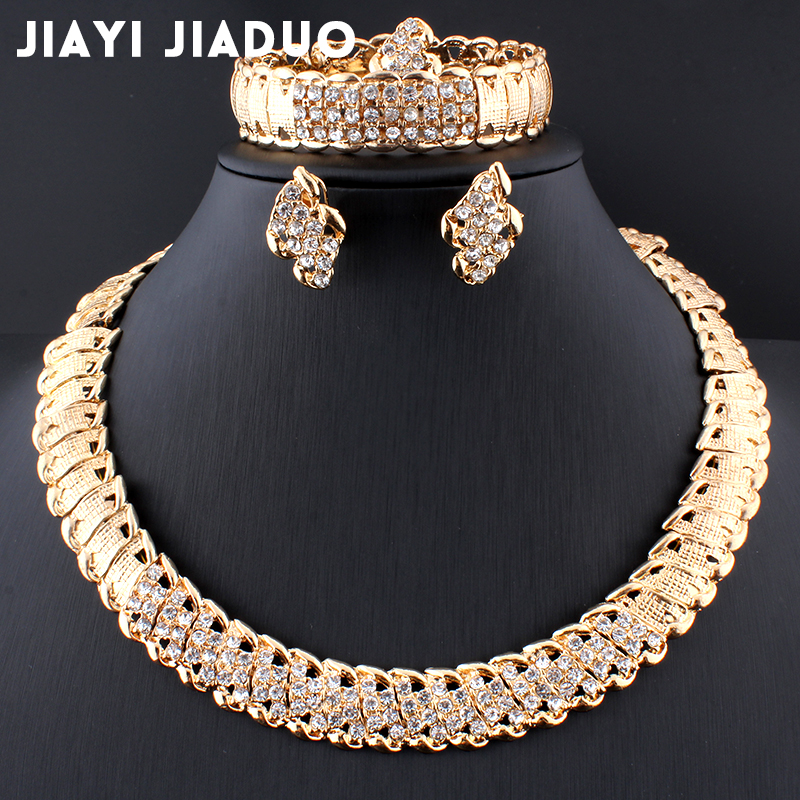 Jiayijiaduo African Wedding Jewelry Dubai Gold Color Jewelry Sets Romantic Color Design Jewelry Sets Necklace Drop Shipping(China)
