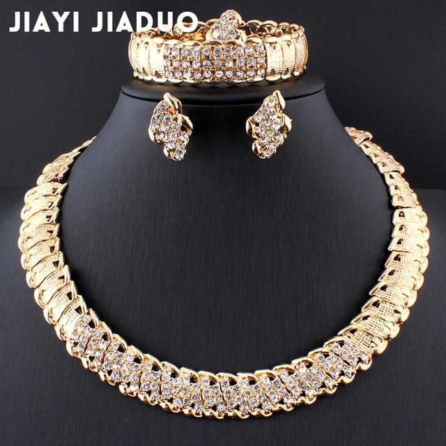 «Joias de casamento africanas dubai, conjunto de joias cor dourada romântica, conjuntos de joias de design de cor, colar com envio rápido 1