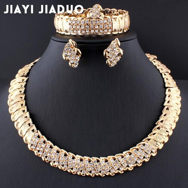 Jiayijiaduo Africana joyería de la boda de oro de Dubai Color conjuntos de joyería de Color romántico diseño juegos de joyería collar envío de la gota