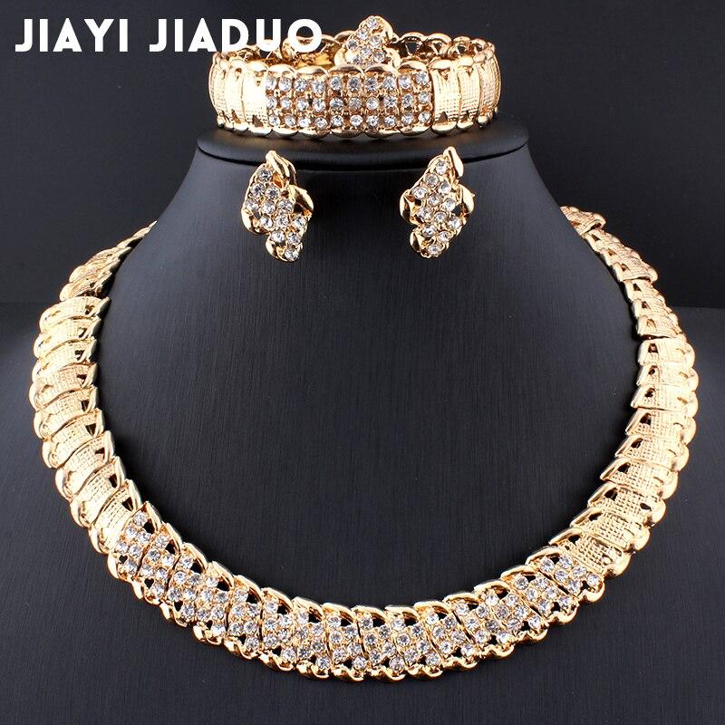 Jiayijiaduo חתונה אפריקאית תכשיטי דובאי זהב צבע תכשיטי סטים רומנטי צבע עיצוב תכשיטי סטי שרשרת Drop חינם
