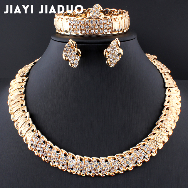 jiayijiaduo African Wedding Jewelry Dubai Gold color Jewelry Sets