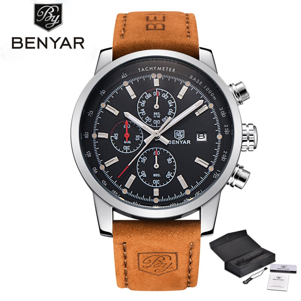BENYAR Hot Sale Army Men Quartz Wristwatch Genuine Leather Band Water Resistant Black Date Display Chronograph Dial Sport Watch alexis men analog quartz round watch miyota 0s10 chronograph matt silver stainless steel band black dial water resistant page 4