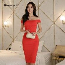 купить Summer Women Pencil Dress 2019 Plus Size Red Short Sleeve Slash Neck Off the Shoulder Dress Elegant Bandage Midi Dresses Ladies по цене 1606.14 рублей